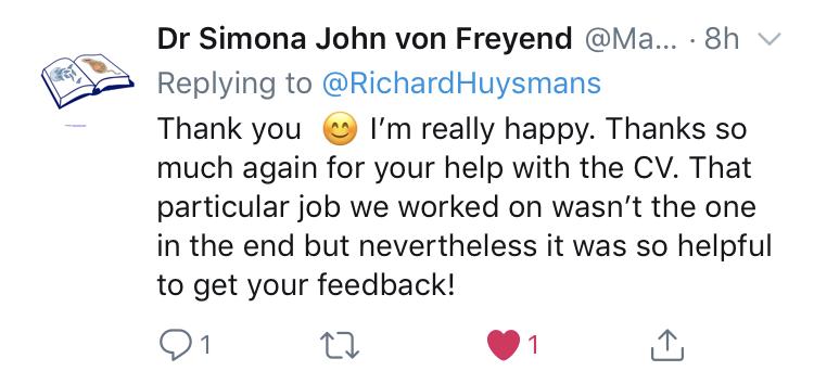 Simona John von Freyend's comment CV Workhosp by Richard